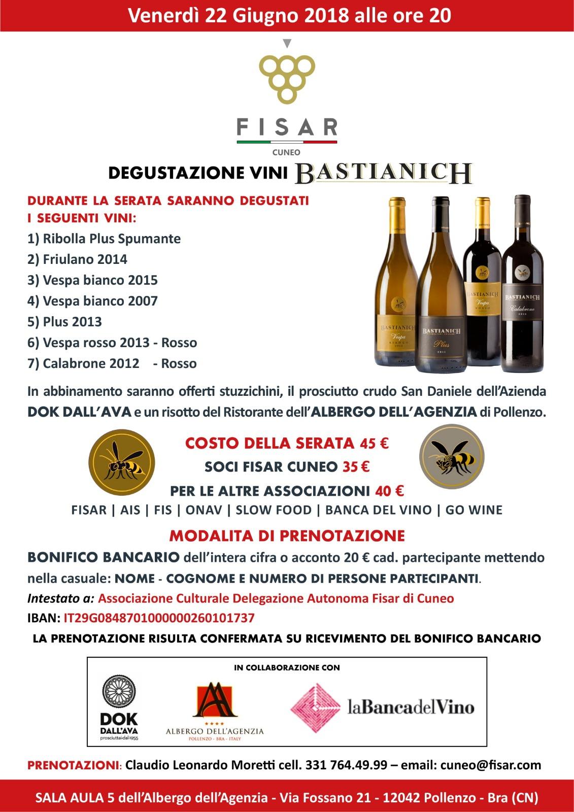 Degustazione dei vini Bastianich a Pollenzo.